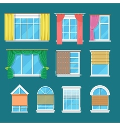 Flat window with curtains drapery shades vector image