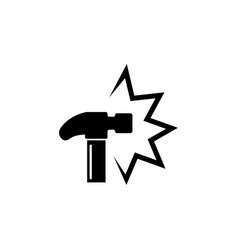 hammer crash knock flat icon vector image