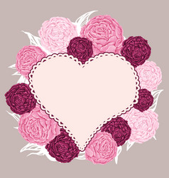 hand drawn flowers peony arranged un a shape of vector image