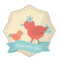 Happy mothers day bidrs mom son decorative label vector