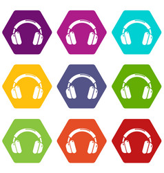headphones icons set 9 vector image