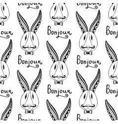 hipster rabbits seamless pattern french greeting vector image