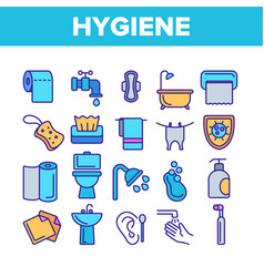 hygiene cleaning thin line icons set vector image