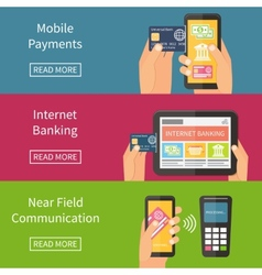 Internet banking mobile payments and nfc vector image