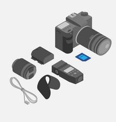 isometric photography tools photostudio vector image