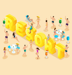 isometrics trip rest people in summer vector image