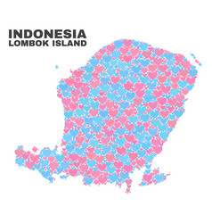 Lombok island map - mosaic of lovely hearts vector