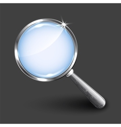 Magnifying glass on dark background vector