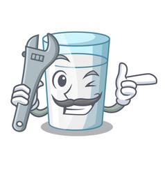 Mechanic cartoon sweet milk glass for breakfast vector