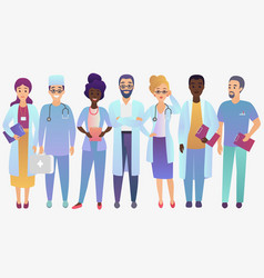 medical team doctors in trendy gradient color vector image