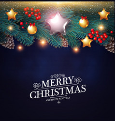 merry christmas background with realistic fir tree vector image