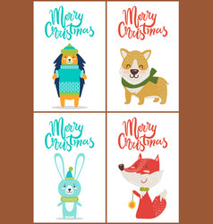 Merry christmas set of posters with funny animals vector