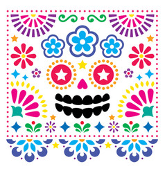 mexican folk art folk art skull design vector image