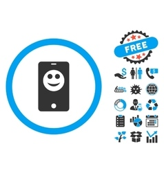 Mobile Phone Smiley Flat Icon with Bonus vector image