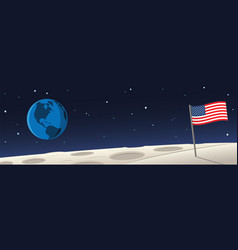 moon landscape with united states flag and earth vector image
