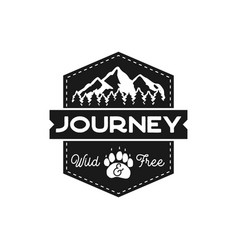 moutnain journey badge wild and free logo vector image