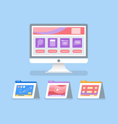 Online education and courses with files icons vector