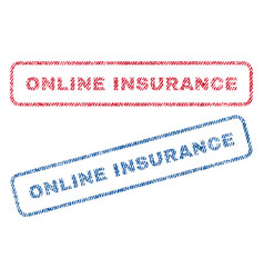 online insurance textile stamps vector image