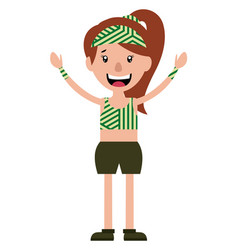 open armed cheerful young teen girl on white vector image