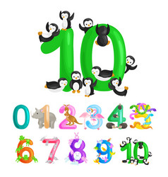ordinal number 10 for teaching children counting vector image