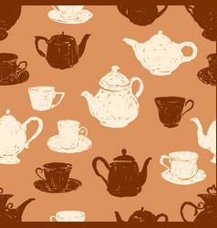 Pattern of the teacups and the teapots vector