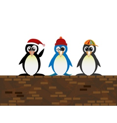 penguin standing on the wall1 vector image