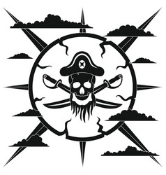 Pirate in black simlpe style vector