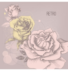Retro rose background greeting card vector