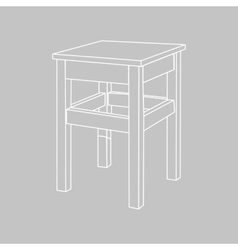 Retro wooden stool vector image