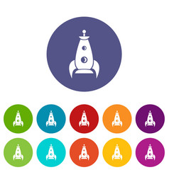 rocket futuristic icons set color vector image