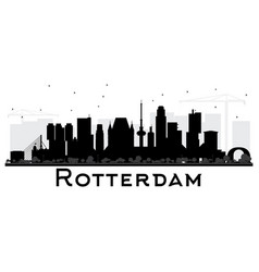 Rotterdam netherlands skyline black and white vector