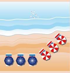 sea beach beach umbrellas seagulls aerial view vector image