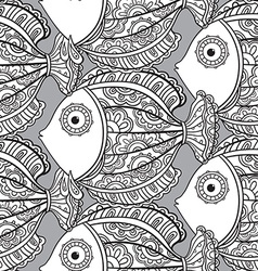 Seamless pattern with ornate fishes vector