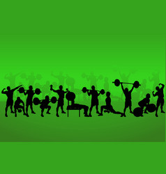set athletes on green vector image