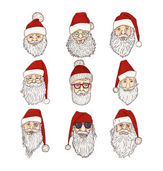 Set cartoon santa claus characters vector