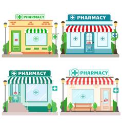 Set facade pharmacy stores with a signboard vector