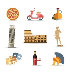 set italy isolated travel colorful flat icons vector image