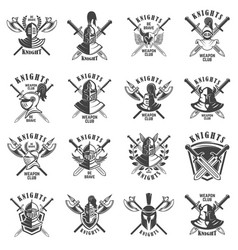 set of emblems with knights swords and shields vector image