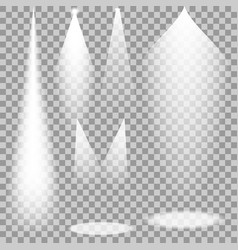 Set of white transparent spotlights vector