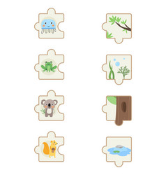 set with colorful children educational puzzle game vector image