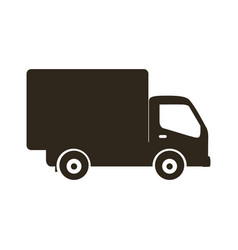 Silhouette transport truck with wagon icon flat vector