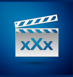 Silver movie clapper with inscription xxx icon vector
