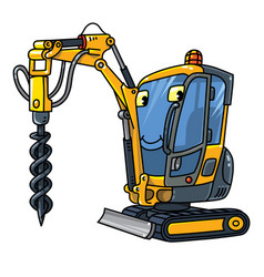 Small drilling truck car with eyes vector