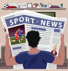 Soccer fan reading sports news vector