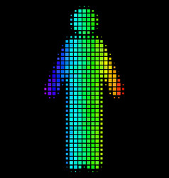 Spectral colored dotted man person icon vector