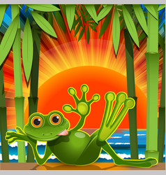 Stock green frog on sunset background vector