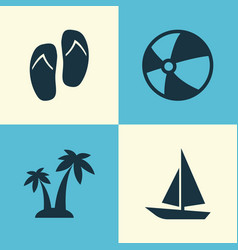 sun icons set collection of ship bead forceps vector image