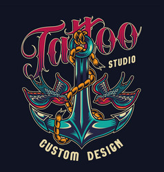 tattoo studio colorful print vector image