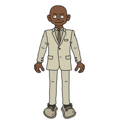 the funny afroamerican man in a light snit vector image