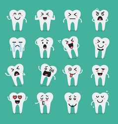 Tooth character emoji set vector
